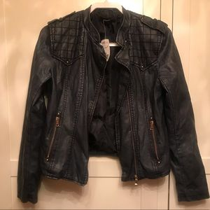 NWT Forever 21 Navy Faux Leather Moto Jacket